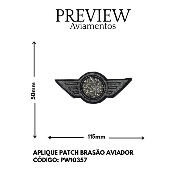 APLIQUE TERMOCOLANTE BRASÃO AVIADOR 90MMX115MM