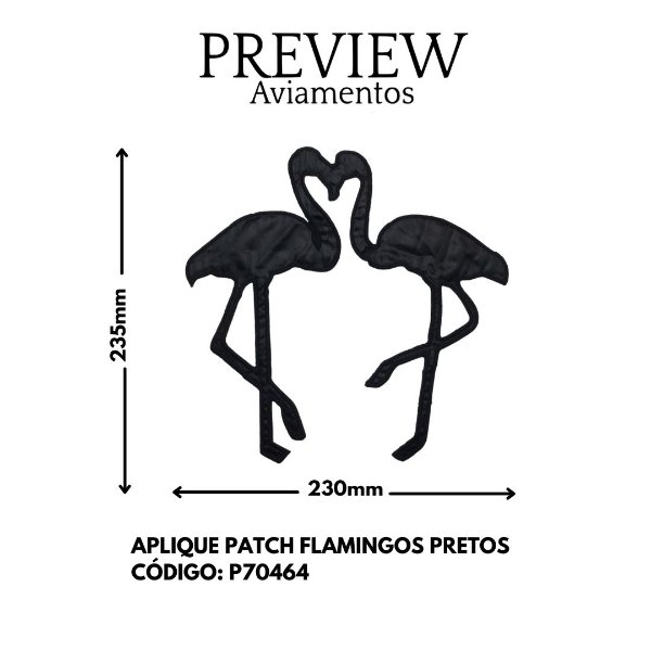 PATCH DE FLAMINGO PRETO 235MMX230MM