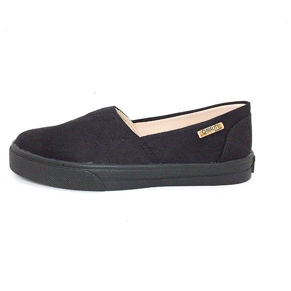 Tênis Slip On Quality Shoes Feminino 002 Camurça Preto Sola Preta