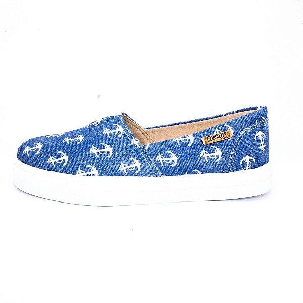 Tênis Slip On Quality Shoes Feminino 002 Jeans Âncora Branca