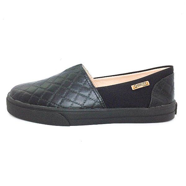 Tênis Slip On Quality Shoes Feminino 002 Matelassê Preto/Preto Sola Preta