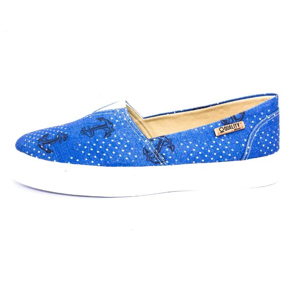 Tênis Slip On Quality Shoes Feminino 002 Âncora Azul