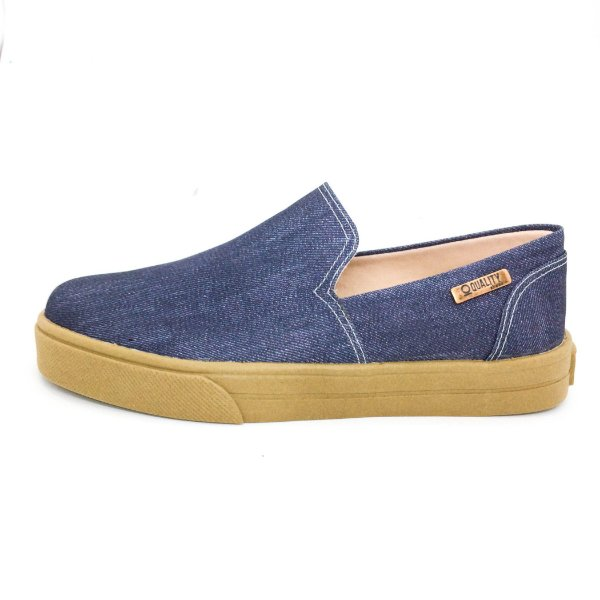 Tênis Slip On Quality Shoes 004 Jeans Escuro Sola Caramelo