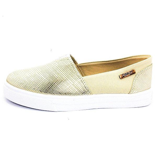 Tênis Slip On Quality Shoes Feminino 002 Ouro Velho/Bege