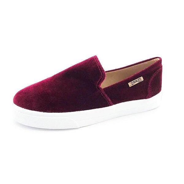 Tênis Slip On Quality Shoes Feminino 004 Veludo Bordô