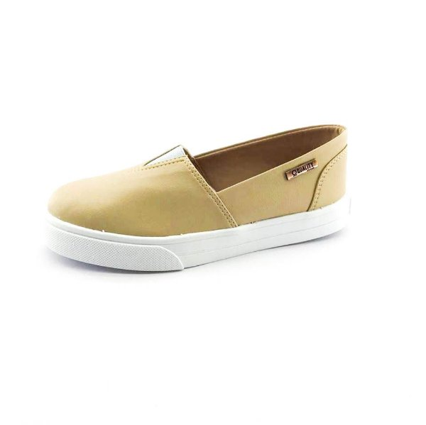 Tênis Slip On Quality Shoes 002 Feminino Courino Nude