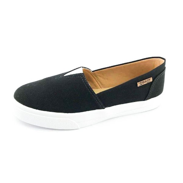 Tênis Slip On Quality Shoes Feminino 002 Lona Preto