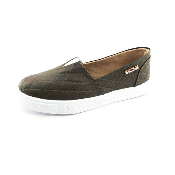 Tênis Slip On Quality Shoes Feminino 002 Matelassê Marrom