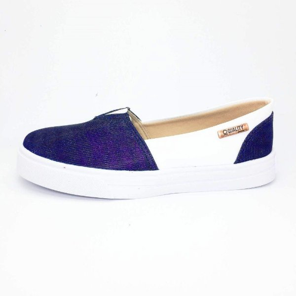 Tênis Slip On Quality Shoes Feminino 002 Multicolor Azul/Courino Branco