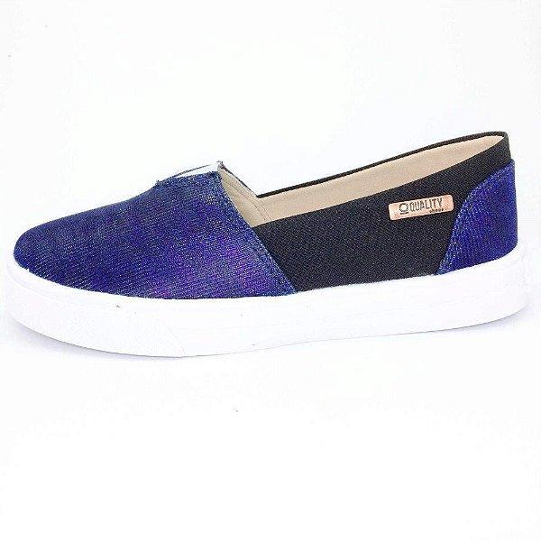 Tênis Slip On Quality Shoes Feminino 002 Multicolor Azul/Preto