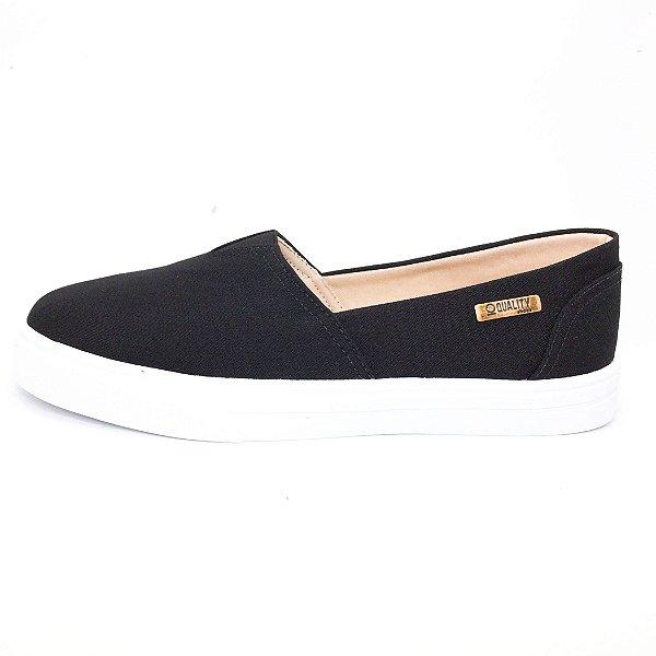 Tênis Slip On Quality Shoes Feminino 002 Preto Lona