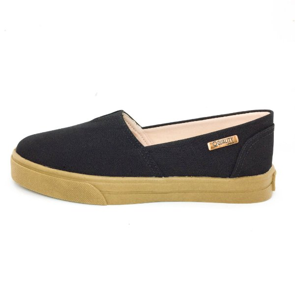 Tênis Slip On Quality Shoes Feminino 002 Preto Lona Sola Caramelo