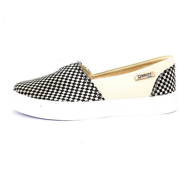 Tênis Slip On Quality Shoes Feminino 002 Trissiê Preto e Bege