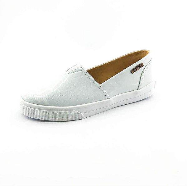 Tênis Slip On Quality Shoes Feminino 002 Verniz Branco Gelo