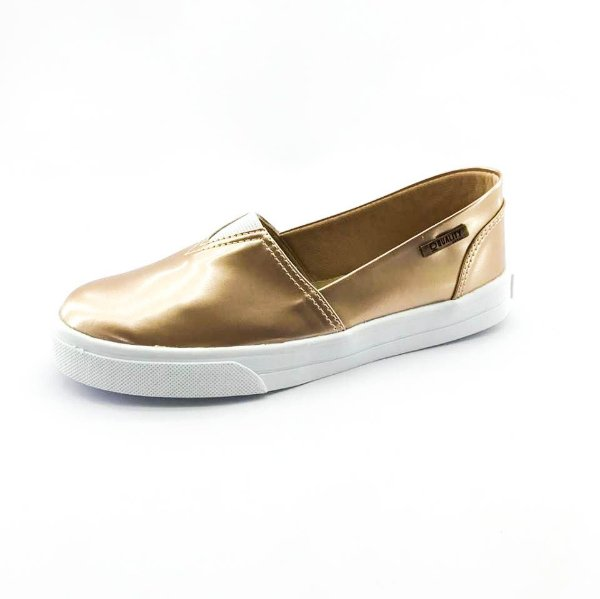 Tênis Slip On Quality Shoes Feminino 002 Verniz Metalizado