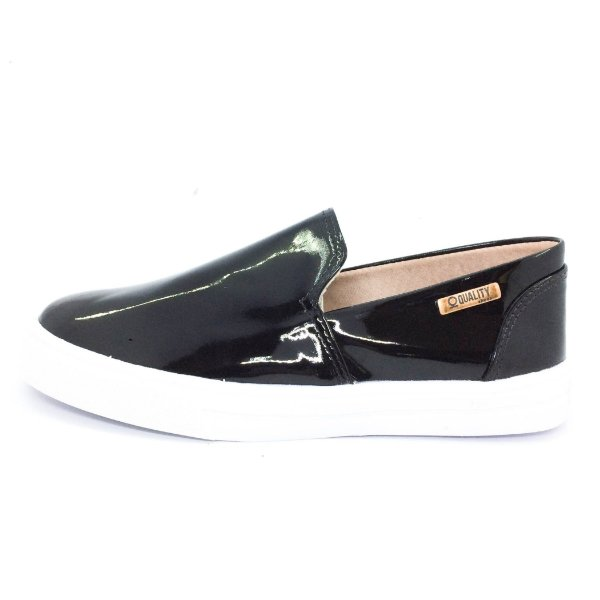 Tênis Slip On Quality Shoes Feminino 004 Verniz Preto