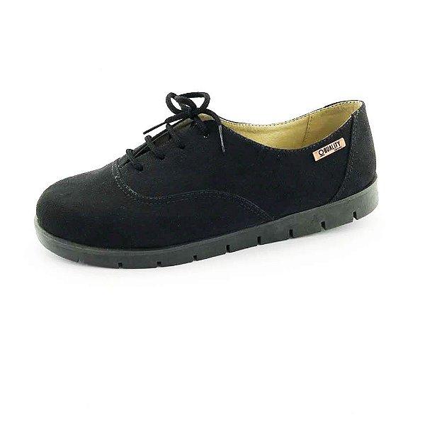 Tênis Tratorado Quality Shoes Feminino 005 Camurça Preta Sola Preta