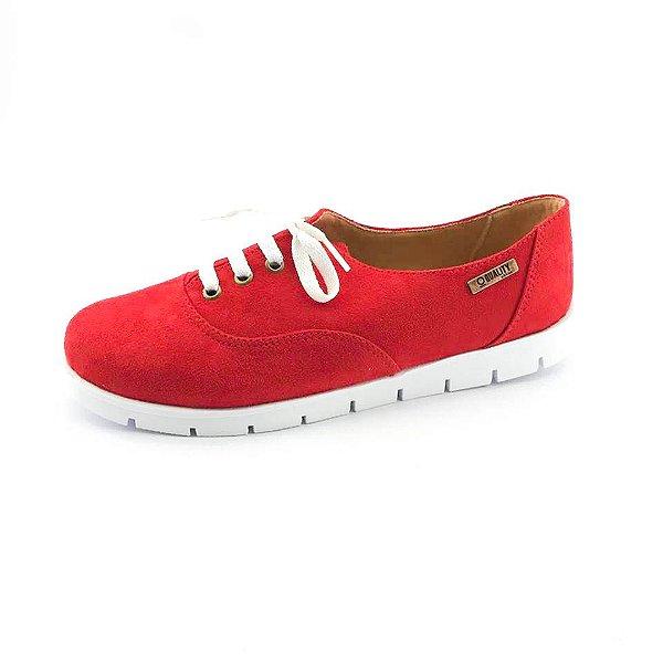 Tênis Tratorado Quality Shoes Feminino 005 Camurça  Vermelha