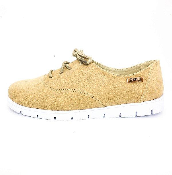 Tênis Tratorado Quality Shoes Feminino 005 Camurça Bege