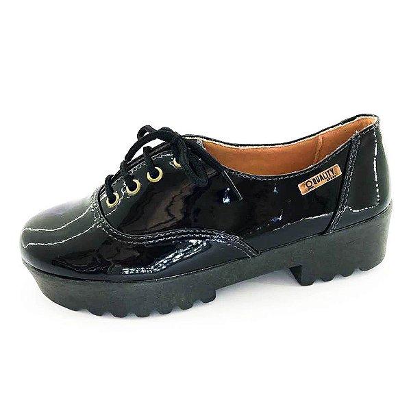 Tênis Tratorado Quality Shoes Feminino 005 Verniz Preto
