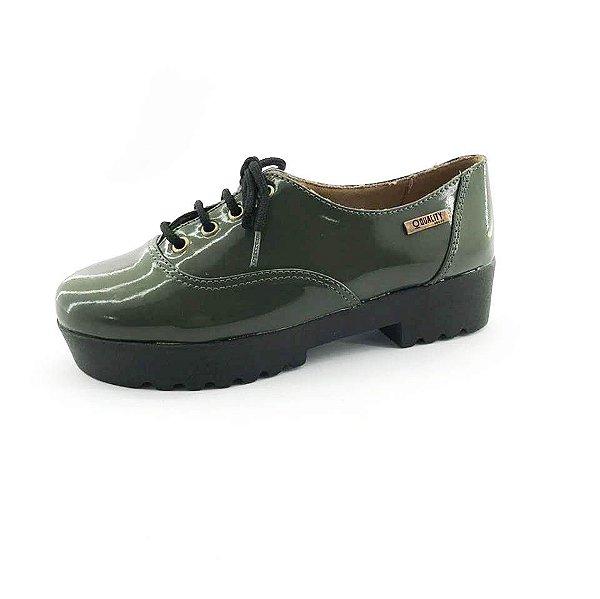 Tênis Tratorado Quality Shoes Feminino 005 Verniz Verde Musgo