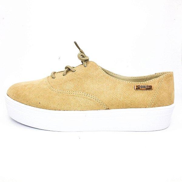 Tênis Flatform Quality Shoes Feminino 005 Camurça Caramelo