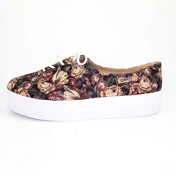Tênis Flatform Quality Shoes Feminino 005 Floral