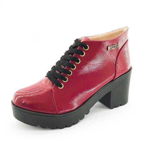 Bota Coturno Quality Shoes Feminina Vermelha