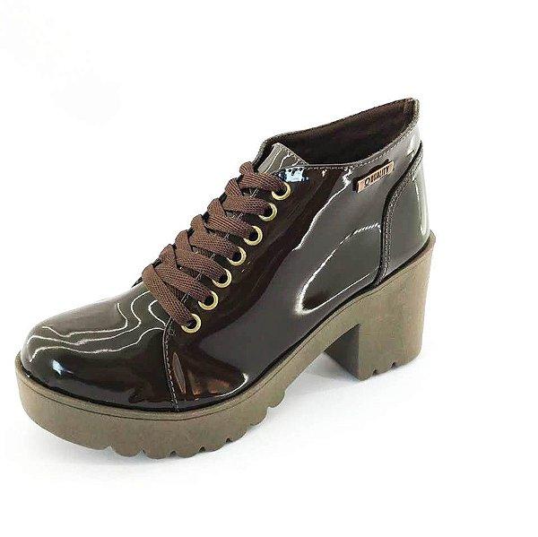Bota Coturno Quality Shoes Feminina Verniz Marrom