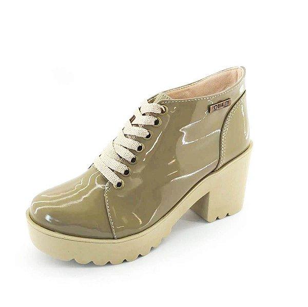 Bota Coturno Quality Shoes Feminina Verniz Nude