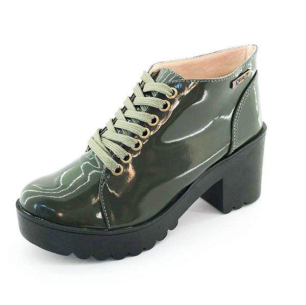 Bota Coturno Quality Shoes Feminina Verniz Verde Musgo