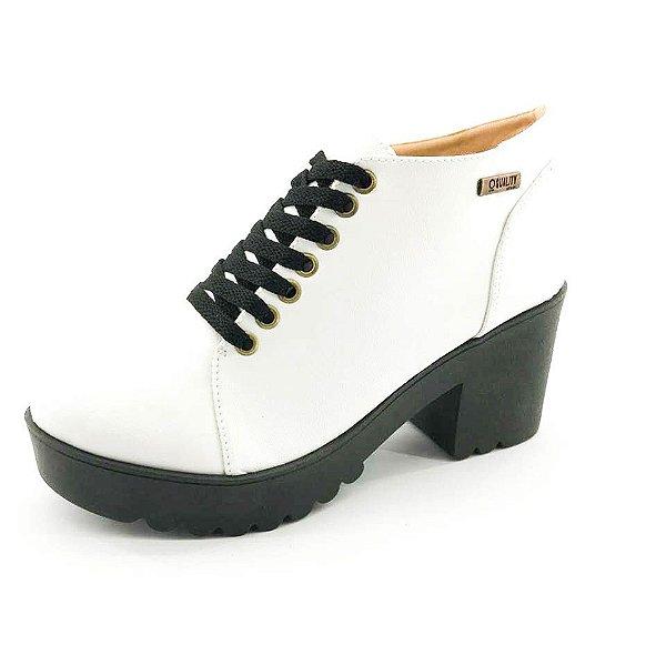 Bota Coturno Quality Shoes Feminina Branca