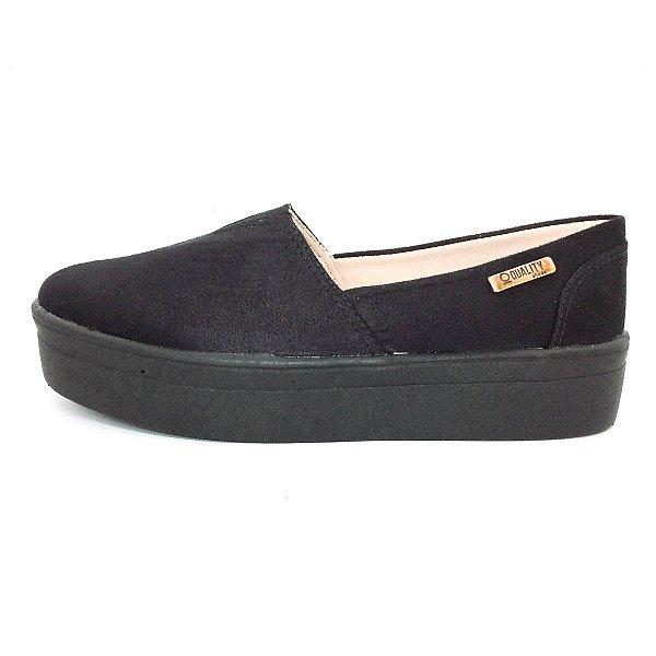 Tênis Flatform Quality Shoes Feminino 003 Camurça Preto Sola Preta