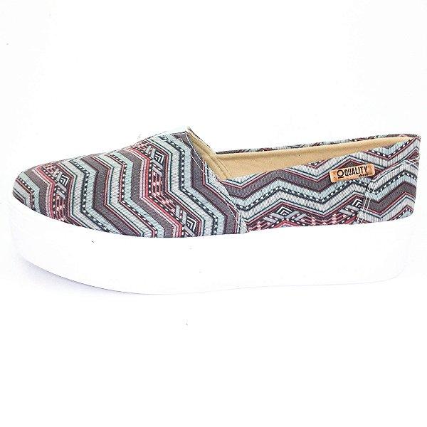 Tênis Flatform Quality Shoes Feminino 003 Étnico Azul