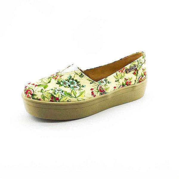 Tênis Flatform Quality Shoes Feminino 003 Floral Amarelo 202 Sola Caramelo
