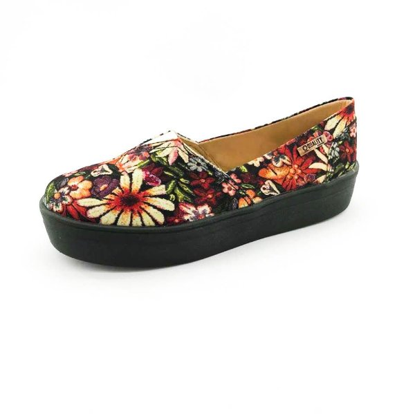 Tênis Flatform Quality Shoes Feminino 003 Floral 796 Sola Preta