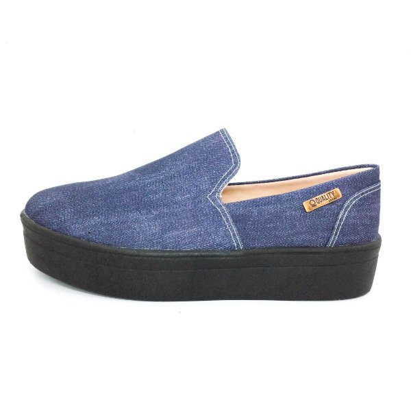Tênis Flatform Quality Shoes Feminino 004 Jeans Escuro Sola Preta