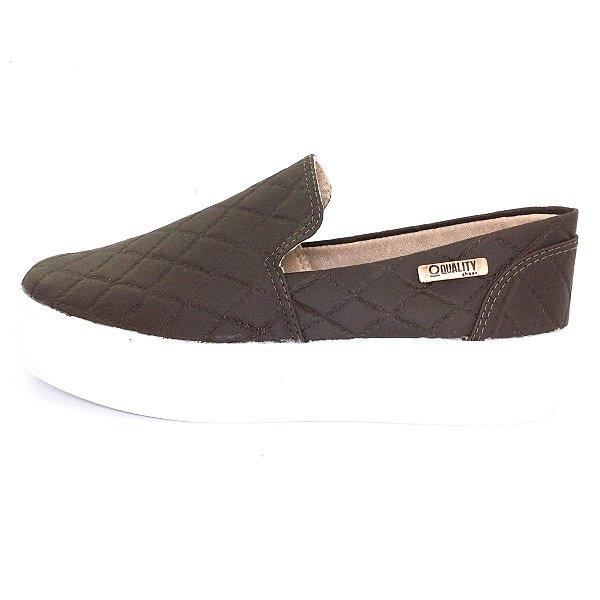 Tênis Flatform Quality Shoes Feminino 004 Matelassê Marrom