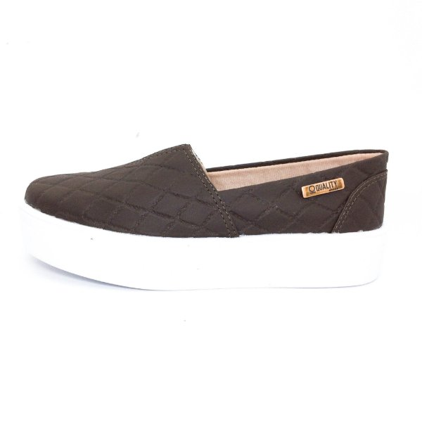 Tênis Flatform Quality Shoes Feminino 003 Matelassê Marrom