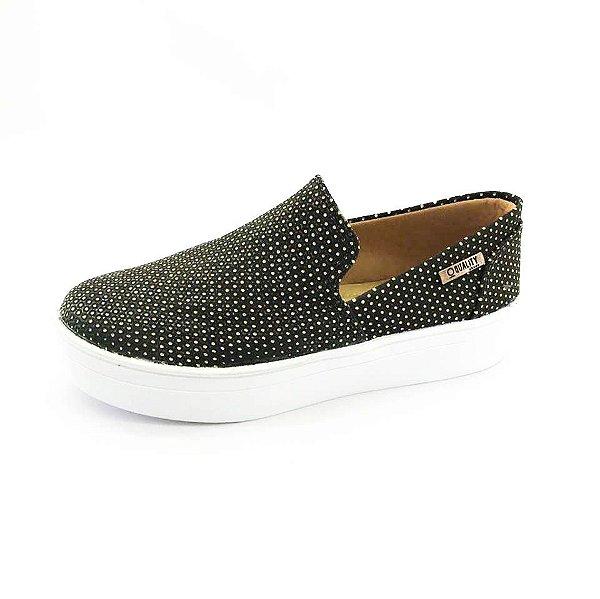 Tênis Flatform Quality Shoes Feminino 004 Preto Poá Dourado