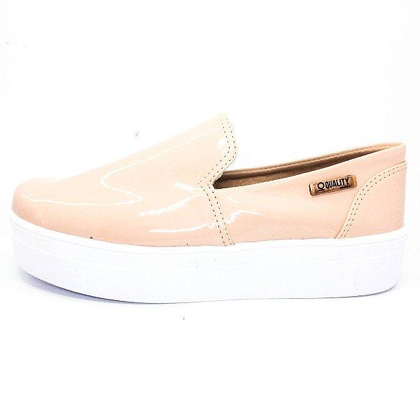 Tênis Flatform Quality Shoes Feminino 004 Verniz Nude Rosado