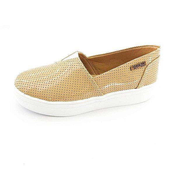 Tênis Flatform Quality Shoes Feminino 003 Verniz Bege Perfurado