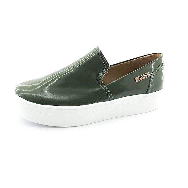 Tênis Flatform Quality Shoes Feminino 004 Verniz Verde Militar