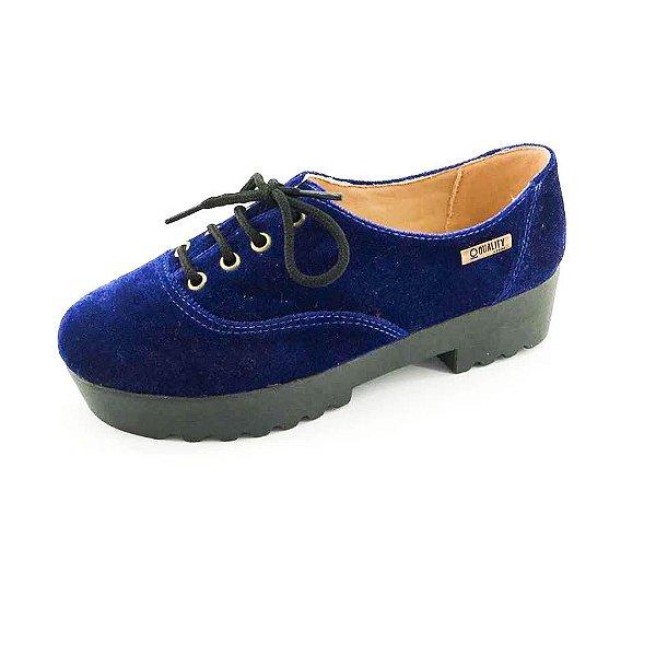Tênis Tratorado Quality Shoes Feminino 005 Veludo Azul Marinho