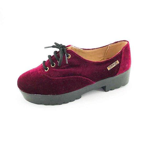 Tênis Tratorado Quality Shoes Feminino 005 Veludo Bordô