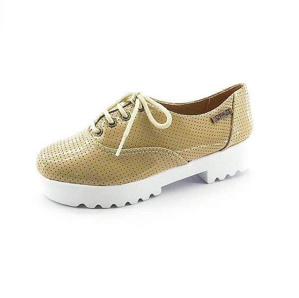 Tênis Tratorado Quality Shoes Feminino 005 Verniz Bege Perfurado
