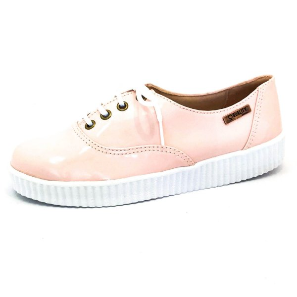 Tênis Creeper Quality Shoes Feminino 005 Verniz Rosa