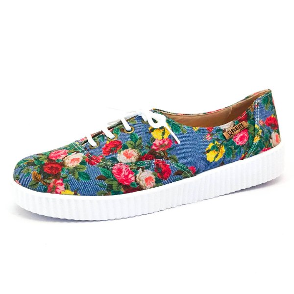 Tênis Creeper Quality Shoes Feminino 005 Jeans Floral 798