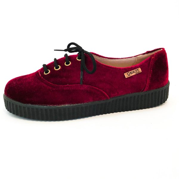 Tênis Creeper Quality Shoes Feminino 005 Veludo Bordô