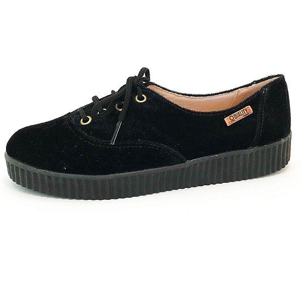 Tênis Creeper Quality Shoes Feminino 005 Camurça Preto